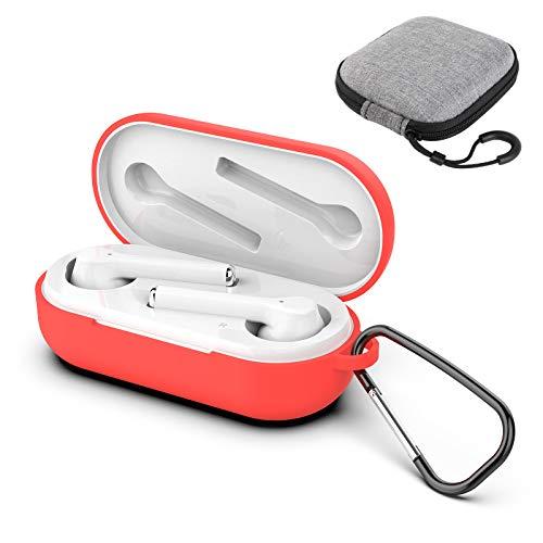 GeeRic Custodia Compatibile per Huawei FreeBuds 3i, 3PCS Accessori Kit Case Protective Silicone Auricolari Cover Compatibile per Huawei FreeBuds 3i Leggero Impermeabile Rosso