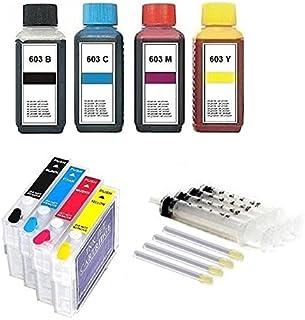 Navulbare inktpatronen met Auto Reset Chips E 603 XL + 400 ml Premium navulinkt voor Expression Home XP- 2100, 2105, 3100,...