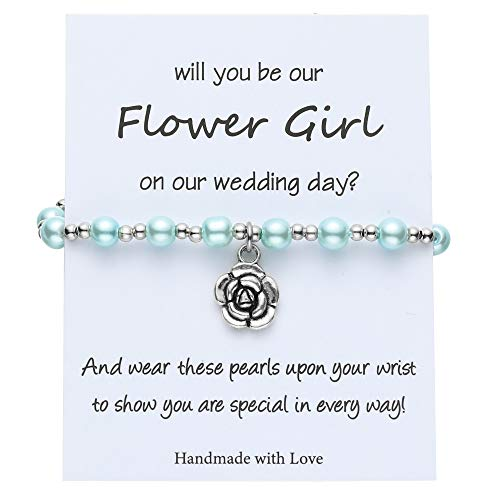 IEFSHINY Flower Girl Gifts Bracelet, Wedding Gifts for Flower Girl Wedding Bracelet for Litter Girl Flower Girl Gifts from Bride Flower Girl Wedding Gift Green
