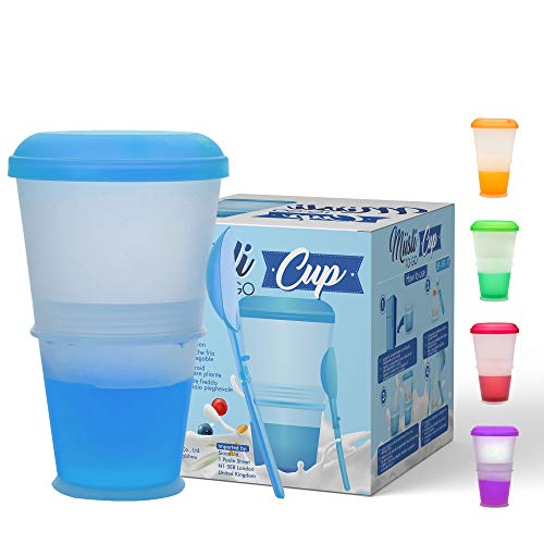 Muesli to Go | Tazza Termica pieghevole per Cereali, Frutta, Alimenti da Viaggio | Scomparto Refrigerante porta Yogurt/Latte | Cucchiaio Incluso | Colore: Viola|