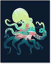 Octopus Landscape Art Print Beautiful Underwater Ocean Inspiration Wall Art Ocean Life Sea Creatures Mermaid Print Tentacles Coral Seaweed Nautical Beach House Home Decor 8 x 10 Art Print