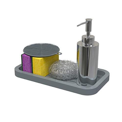 Spülorganizer Schwammhalter - Spülbecken Organizer aus biofreundliches Silikon - Deko Grau Küchenorganizer Küchenhelfer mit Stauraum für Küchen Zubehör, Aufbewahrung, Spüle, Schwamm, Löffelablage