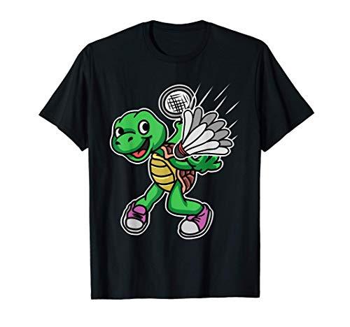 Badminton Federball Jungen Mädchen Schildkröte Geschenk T-Shirt