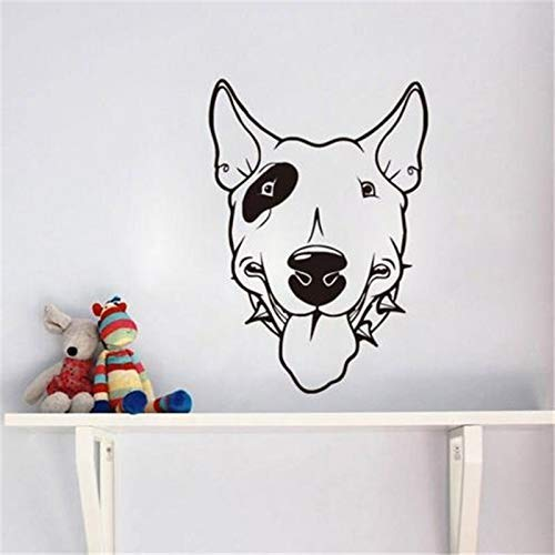 Pitbull Dog Vinyl Wandaufkleber Niedlicher Hundekopf Tapete Abnehmbarer Kleber Kinderzimmer Aufkleber Wohnzimmer Wandbild Int 42 * 60Cm