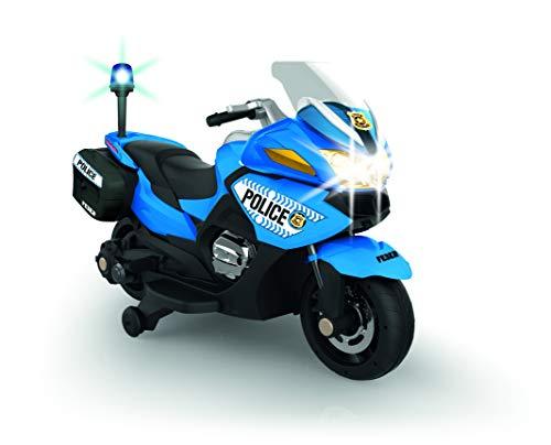 FEBER- Moto depolicía Infantil, con batería 12 V, con Luces y Sonido, Azul (Famosa 800012891)