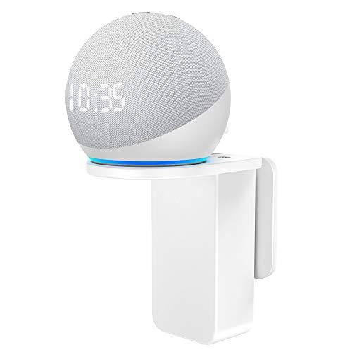 Cozycase Wandhalterung für Dot 4. Generation mit Uhr - Platzsparend Halterung Zubehör für Smart Home Lautsprecher, Ideal für Küche Bad, Kein Lochen notwendig (1-Packung, Weiß)