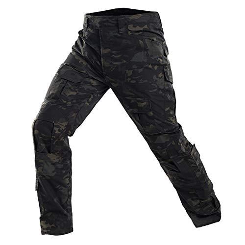 QMFIVE Airsoft Hosen, Männer Taktisch Tarnung Herren Hose BDU Kampf Pants Hosen für Armee Militär Airsoft Paintball (Schwarzes Camo, S)