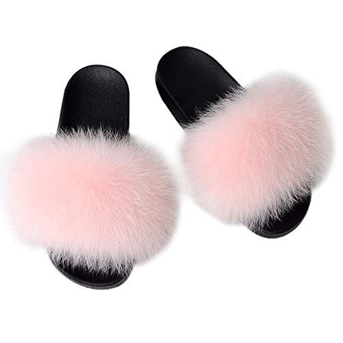 MAGIMODAC Fell Pantoffeln Pelz Kunstfell Hausschuhe Sandal Slipper Flauschig rutschfest Damen (Rosa, Numeric_36)