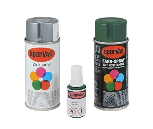 Arvotec RAL 6005 Staafmatten, lakreparatie RAL 6005, groen, kleurspray + lakstift, optimaal voor krassen en beschadigingen aan staafmatten en metalen hekken