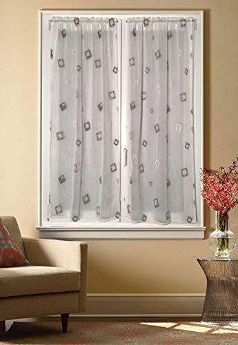 mauro Paire de rideaux pour fenêtre et porte-fenêtre en verre - Blanc/taupe - 80 x 240 cm