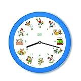 KOOKOO KinderLieder Blau, kleine Wanduhr, 21cm, zu jeder Stunde tönt eines von 12 bekannten Kinderliedern auf Zither und Altflöte, mit Lichtsensor