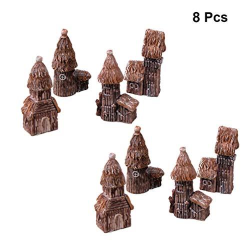 Yarnow 8 Pcs Miniature Château Fée Jardin Maison Chalet Maison Statue pour Bricolage Fée Jardin Maison de Poupée Décoration en Plein Air Plante Pots Bonsaï Décoration