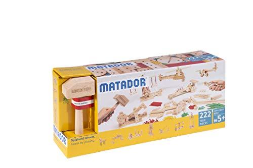 Matador 11222 E222 Baukasten, holzfarben, bunt