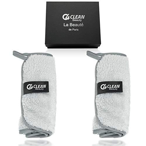 4Clean Make Up - Toallitas desmaquillantes de microfibra, lavables, 2 unidades, guantes desmaquillantes integrados, hipoalergénicos, paños de limpieza de microfibra (gris)