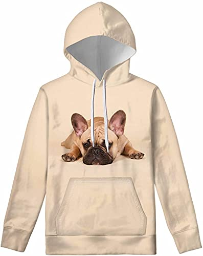 GIFTPUZZ Adorable 3D French Bulldog Pattern Hooded Sweater Hoodies Children's Drawstring Sweatshirt with Front Kangaroo Pocket Girl Long Sleeve Pullover Tops Crewneck Breathable Athletic Tops M
