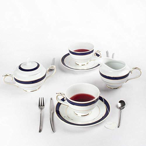 Set caffè in porcellana bianca blu stile classico 27 pezzi - 12 tazze, 12 piattini, 1 caffettiera, 1 lattiera, 1 zuccheriera   Modello Victoriano Blu Cobalto