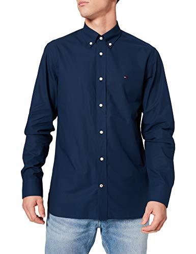 Tommy Hilfiger Breeze Cotton Shirt Camisa, Carbono Azul Marino, L para Hombre