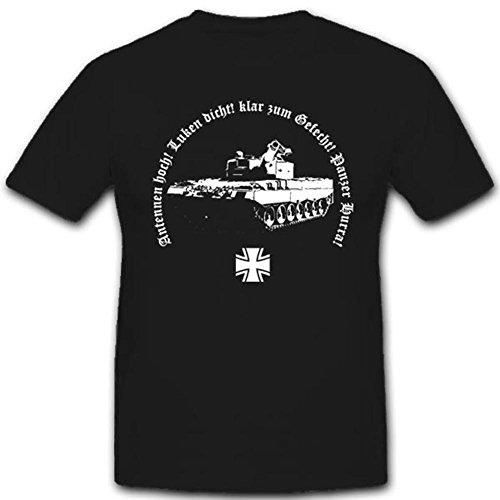 Panzertruppe Militär Bundeswehr Deutscher Panzermann Antennen Hoch Luken Dicht Gefecht Panzer Hurra - T Shirt #3263, Farbe:Schwarz, Größe:Herren L