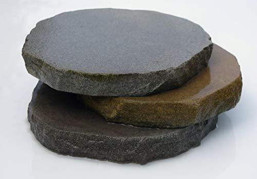 Splittprofi Trittplatte aus Naturstein grau braun ca. D= ca. 30cm Trittstein Stepstone rund 1 Stück Kanten gebrochen