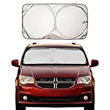 EcoNour Windshield Sun Shade - Blocks UV Rays Sun Visor Protector Sunshade to Keep Your Vehicle Cool and Damage Free | Easy to Use Car Accessories | Fits Most Windshields (X-Large 75' x 37')
