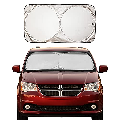 EcoNour Car Windshield Sun Shade with Storage Pouch   Durable 240T Material Car Sun Visor for UV...