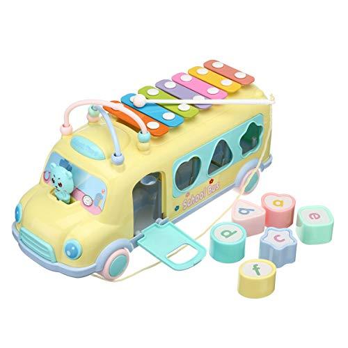 Baby Knock Beat Xylophon pädagogisches Spielzeug Bus-Form Spielzeug farblich passender Bus Klopfen Xylophon Kinder Spielzeug Eltern-Kind-Aktivität Spiele (B)