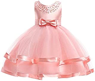 Ashtray - Children Baby Girls Explosion Sleeveless Bowknot Pearl Princess Formal Clothes Dresss