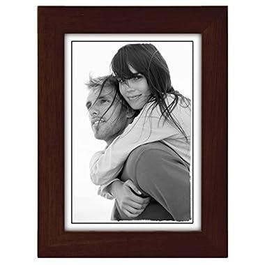 Malden International Designs Linear Classic Wood Picture Frame, 5x7, Espresso