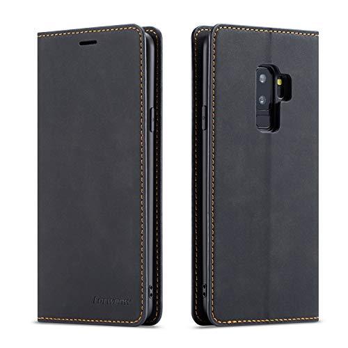 EYZUTAK Premium PU Leather Flip Folio Case for Samsung Galaxy S8 Plus, Protective Case with Kickstand Card Slot Magnetic Closure Shockproof Wallet Cover for Samsung Galaxy S8 Plus - Black
