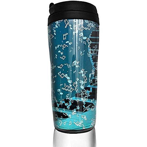 Piano flotante Partitura de música Botella de agua Tazas Trave Taza de café Vaso Taza de viaje reutilizable para exteriores