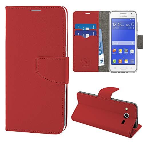 N NEWTOP Cover Compatibile per Samsung Galaxy Core 2 G355, HQ Lateral Custodia Libro Flip Chiusura Magnetica Portafoglio Simil Pelle Stand (Rosso)