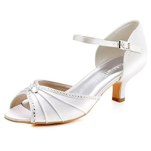 Elegantpark HP1623 Sandalias de Boda Tacon Bajo Peep Toes Zapatos Boda Fiesta Mujer Abrochan Los Satén Zapatos para Novia