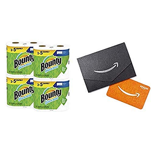 2 Packs of Bounty Quick-Size Paper Towels, White, 8 Family Rolls, 20 Regular Rolls with Amazon.com $10 Gift Card