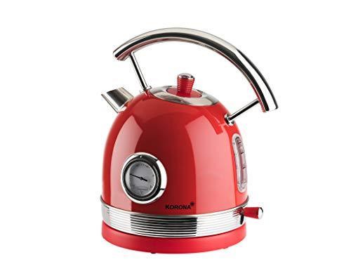 Korona 20667 Retro Wasserkocher | Rot | Retro Temperaturanzeige | 2200 Watt | 1,8 Liter