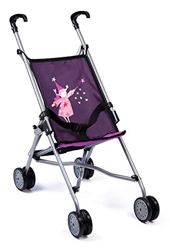 Bayer Design 30112AA Dolls Buggy, Umbrella Stroller, Carriage for Toddler, Foldable, Double Wheels, Purple