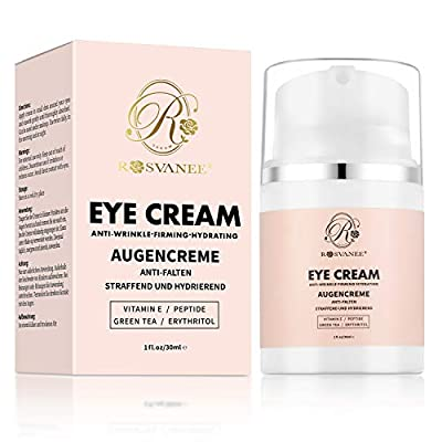 ROSVANEE Eye Cream Natural Formula with HYALURONATE, Vitamin E & Green Tea, Anti-Aging Eye Cream to Reduce Dark Circles, Puffiness, Wrinkles & Fine Lines for Women & Men