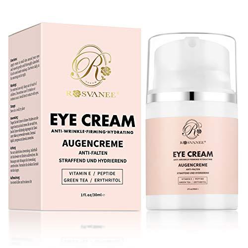 ROSVANEE Augencreme gegen Krähen Füße, Falten und Augenringe, Anti Aging Augencreme mit Hyaluronsäure,Peptide,Vitamin E für Damen & Männer 30mL