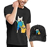 AYYUCY Camisetas y Tops Hombre Polos y Camisas, Dingtai Adventure Time with Finn and Jake Season6 Men's Short Sleeve T Shirt and Adult Washed Cowboy Hat