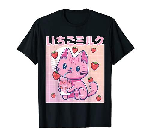 Vaporwave Strawberry Cat 90s Japanese Kawaii Strawberry Milk T-Shirt
