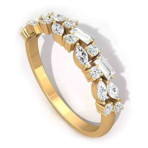 0,58 Karat schwimmender IGI zertifizierter Diamant Ehering, Marquise Baguette IJ-SI Diamant Jahrestag Ringe, Frauen Stapel Hälfte Ewigkeit Versprechen Ring Sets, 14K Gelbes Gold, Size:EU 54