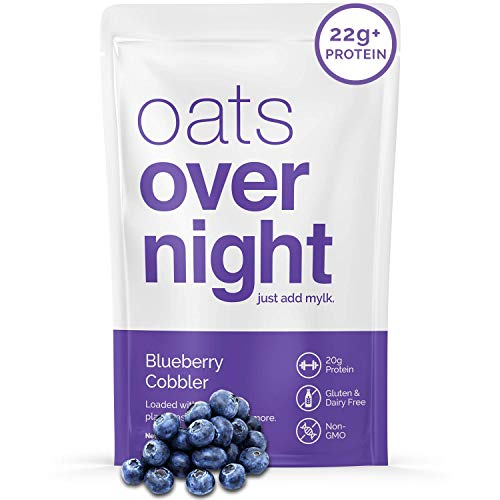 Oats Overnight - Blueberry Cobbler (24 Meals) Dairy Free, High Protein, Low Sugar Breakfast Shake - Gluten Free, High Fiber, Non GMOOatmeal(2.5oz per meal)