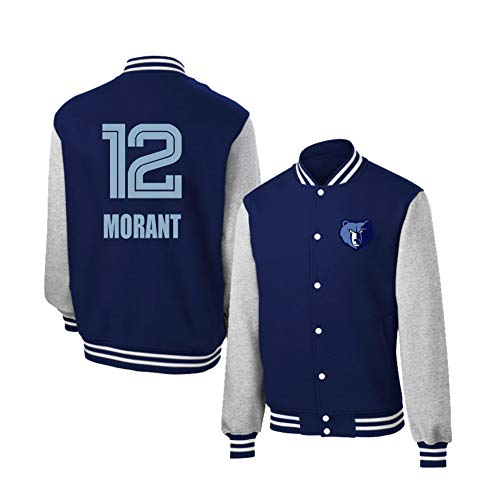 YUNAN Chaqueta Varsity Memphis Grizzlies # 12 Sí Morant Otoño, camiseta de baloncesto, chaqueta de uniforme para deporte y ocio azul S