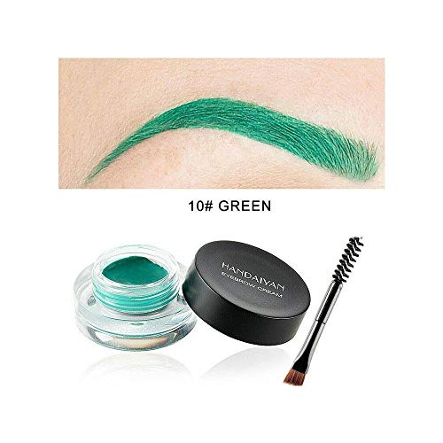 Handaiyan 12 couleurs Matt Sourcils Pommade crème avec la brosse Yeux Waterproof Maquillage 10# VERT
