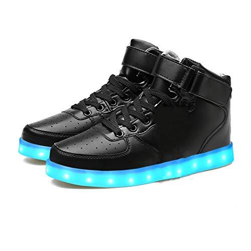 LeKuni Unisex LED Schuhe Leuchtschuhe 2019 Verbesserung 7 Farbe Blinkende Leuchtende Light up High Top Sneakers, Schwarz, 31 EU (Herstellergröße: 32)