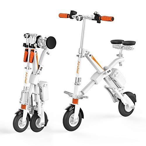 Airwheel E6 Eléctrica Plegable De La Bicicleta Durable Diseño Modular La Interacción Entre La Batería Y El Teléfono E6 Través De La Aplicación White-996 * 870 * 592 (mm)