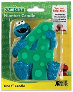 1 X 4th Birthday Sesame Street Cookie Monster Cake Candle