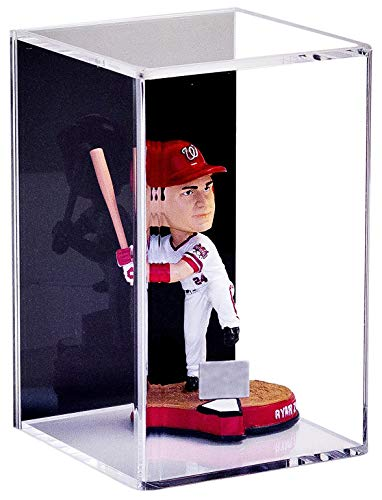 Better Display Cases Acrylic Display Case for Figurine Miniature Doll Bobblehead or Action Figure with Black Back and Wall Mount (A016-BB-VWM)