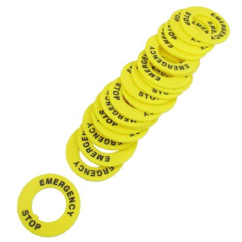 sourcing map 20 Piezas Amarillo 22mm Diámetro Interno Parada De Emergencia Anillo para Interruptor Botón De Presión