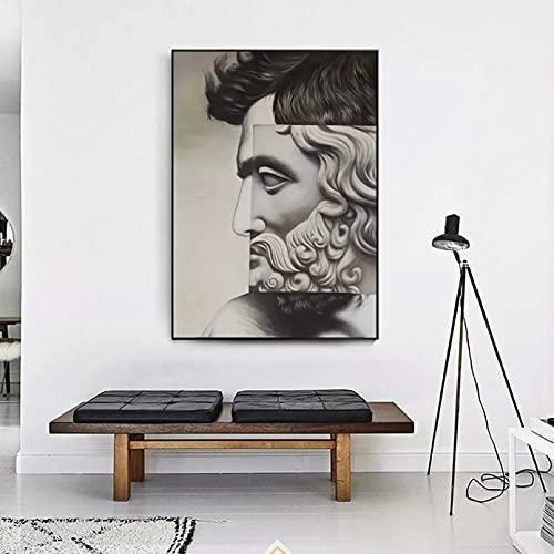 WenBo Quadri Decorativi Collage Faccia Gesso Statua Arte Scultura Tela Stampa Pittura Nordic...