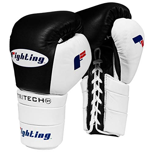 Fighting Sports Tri-Tech Tenacious Lace Training Gloves, Black/White, 16 oz